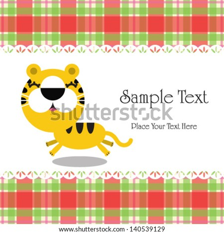 Vector illustration of cartoon tiger with place for text. - stock vector