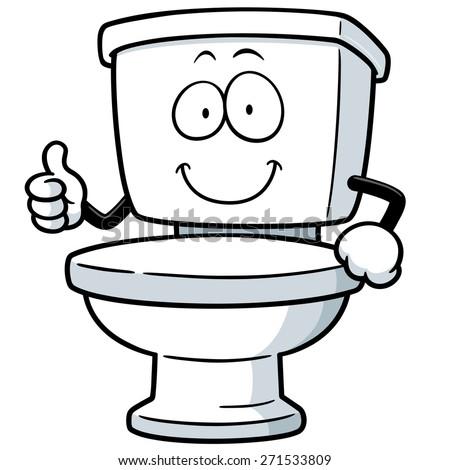 Vector Illustration of Cartoon toilet - stock vector