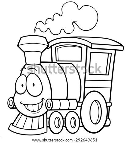 Vector illustration of cartoon train - Coloring book - stock vector