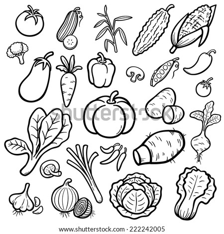 Vector Illustration of Cartoon vegetable set - Coloring book