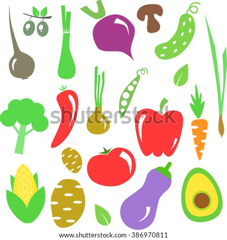 Vector Illustration Cartoon Vegetables Color Perfect Stock Vector HD