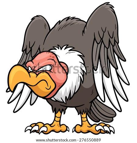 Vector illustration of Cartoon vulture - stock vector