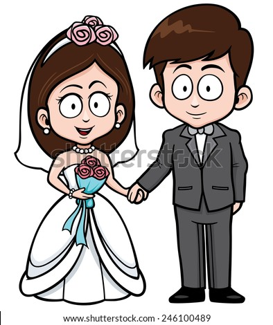 Vector Illustration of Cartoon Wedding couple with floral bouquet - stock vector