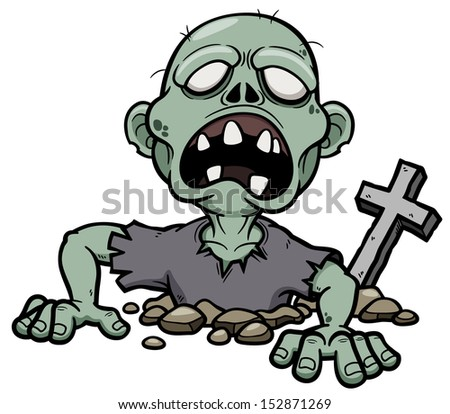 Vector illustration of Cartoon zombie - stock vector