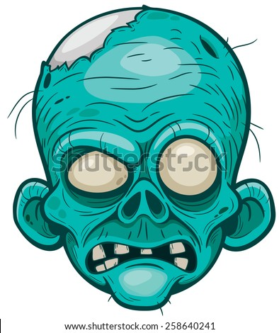 Vector illustration of Cartoon zombie face - stock vector