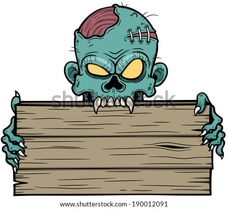 Vector illustration of Cartoon zombie holding wooden sign - stock vector