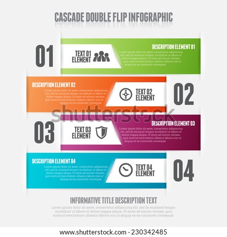 Vector illustration of cascade double flip infographic design element. - stock vector
