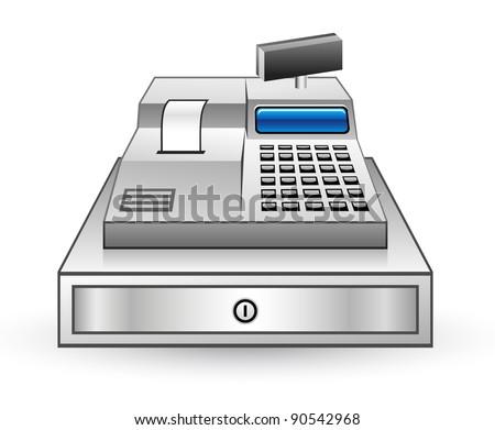 Vector illustration of cash register on white background - stock vector