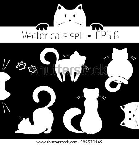 Vector illustration of cats. Set of vector cats. Cat logo concept. Pet shop concept. Pet care concept. - stock vector