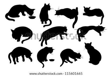 Vector illustration of Cats Silhouette set - stock vector