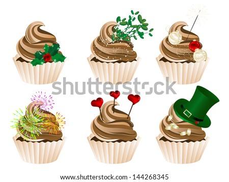 Vector illustration of celebration and holidays cupcakes - stock vector