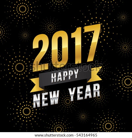Vector illustration of celebration fireworks for Happy new year 2017 season with gold and silver theme.