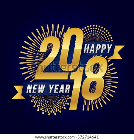 vector illustration of celebration fireworks for happy new year 2018 season with gold theme