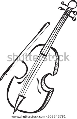 Vector illustration of cello in black and white doodle sketch