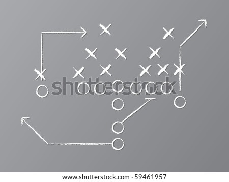 Vector illustration of chalk drawn football play on chalkboard. - stock vector