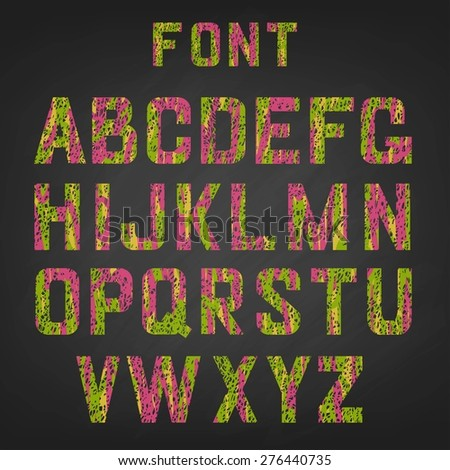 Vector illustration of chalked color alphabet.English alphabet