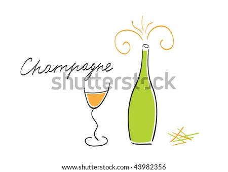 Vector illustration of champagne bottle and glass - stock vector