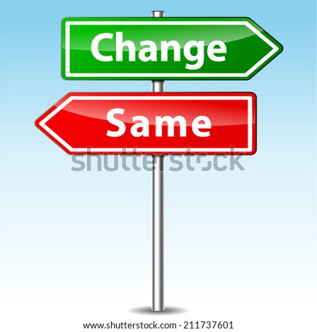 Vector illustration of change and same direction sign