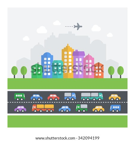 Vector illustration of chaotic cityscape. Flat modern icons of vehicles, buildings and homes. - stock vector