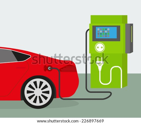Vector illustration of charging red electric car - stock vector