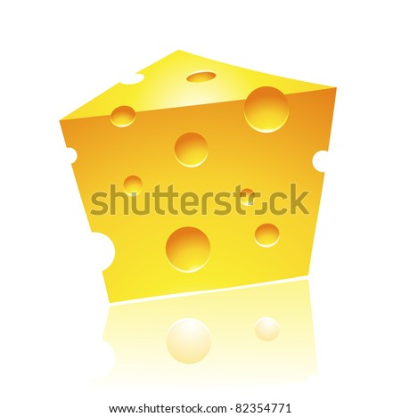 Vector Illustration of Cheddar Cheese with Reflection - stock vector