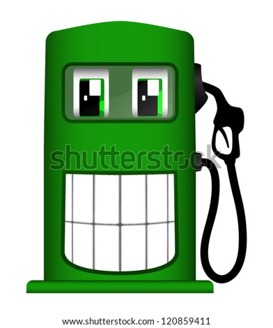 Vector illustration of cheerful gas pump isolated on white background - stock vector