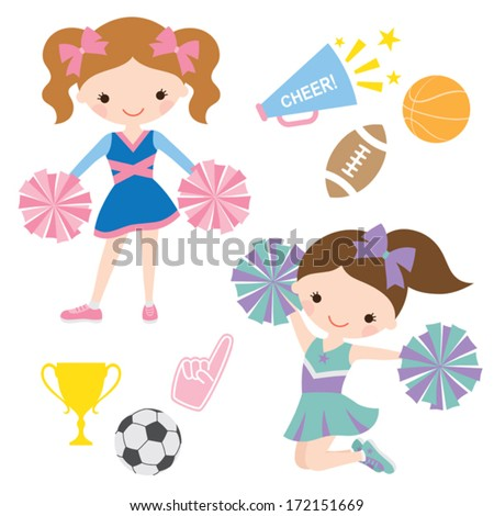 Vector illustration of cheerleaders and related sport items. - stock vector