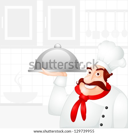 vector illustration of chef holding cloche - stock vector