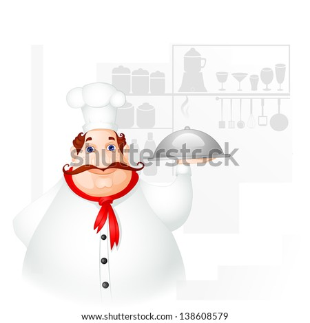 vector illustration of chef holding cloche in kitchen - stock vector
