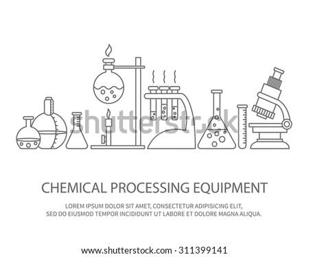 Vector illustration of chemical processing equipment - Beaker, burner, test tubes, microscope, retorts. Trendy linear design on isolated background. Concept design for chemistry, medicine, science etc - stock vector