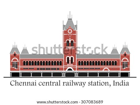 Vector illustration of Chennai central station in India