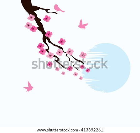 vector illustration of cherry blossom background with birds and moon