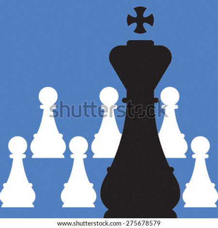 Vector illustration of chess. White pawns and black king on blue background - stock vector