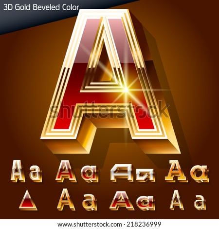 Vector illustration of chic golden 3D beveled and coloured font. Letter a - stock vector