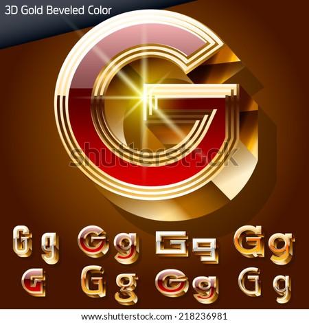 Vector illustration of chic golden 3D beveled and coloured font. Letter g - stock vector
