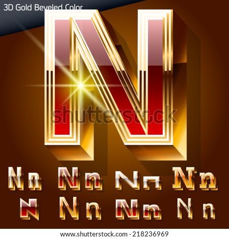 Vector illustration of chic golden 3D beveled and coloured font. Letter n - stock vector