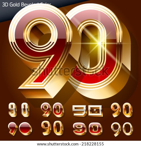 Vector illustration of chic golden 3D beveled and coloured font. Numbers 9 0 - stock vector