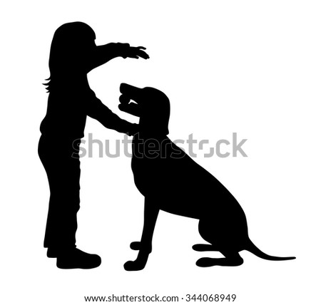Vector illustration of child and dog silhouettes - stock vector