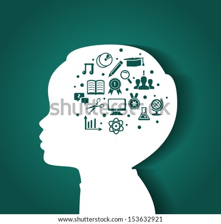 Vector illustration of Child head with education icons - stock vector
