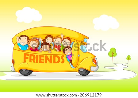 vector illustration of children on Excursion for Friendship Day - stock vector