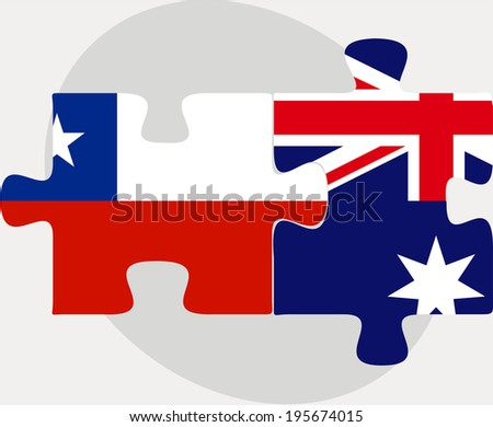 Vector illustration of Chile and Australia Flags in puzzle isolated on white background - stock vector
