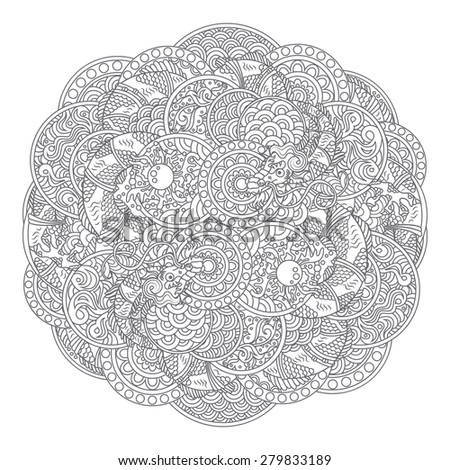 Vector illustration of chinese traditional dragons with pearl ornament - round circle ornate rosette with scale, waves and other ancient asian ornament elements - stock vector