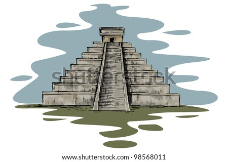 vector illustration of Chinhen Itza monument - stock vector