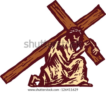 Vector illustration of Christ carrying the cross - stock vector