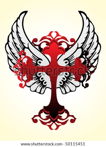 vector illustration of christian cross with wing - stock vector