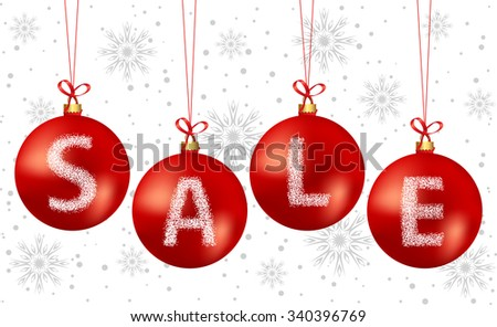 Vector illustration of christmas bubbles sale text. Used gradient mesh on bubbles.