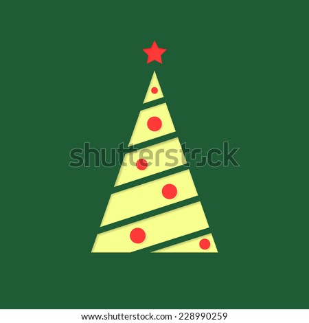 Vector illustration of Christmas fir - tree icon, flat design. Isolated on green background, eps 10. - stock vector