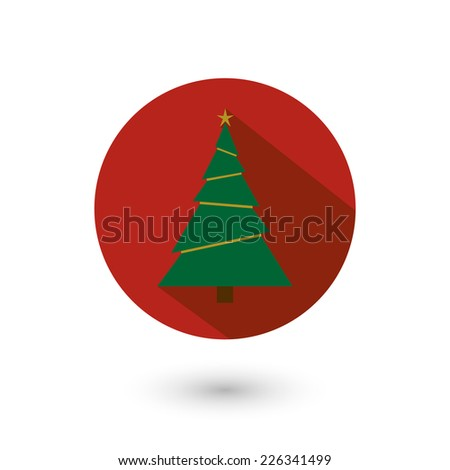 Vector illustration of Christmas fir - tree icon with long shadow, flat design. Isolated on white background, eps 10. - stock vector