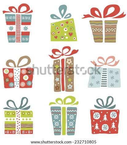 Vector illustration of Christmas gift box , design set. - stock vector