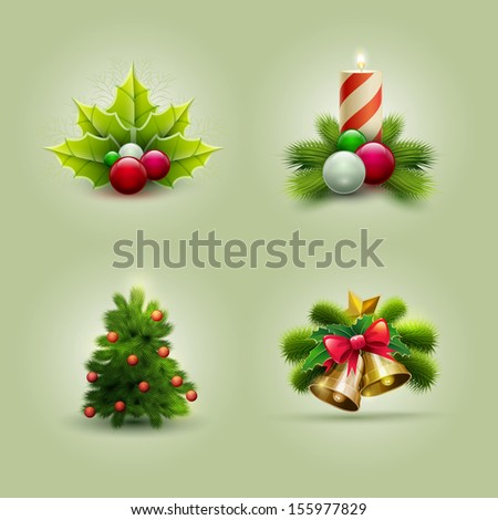 Vector illustration of Christmas icon set. Vector ornament objects. - stock vector